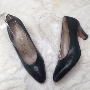 Salvatore Ferragamo Color Block Black Green Heels